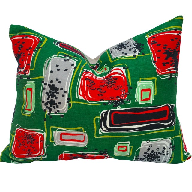 Mid-Century Textile Pillow - Image 1 of 5