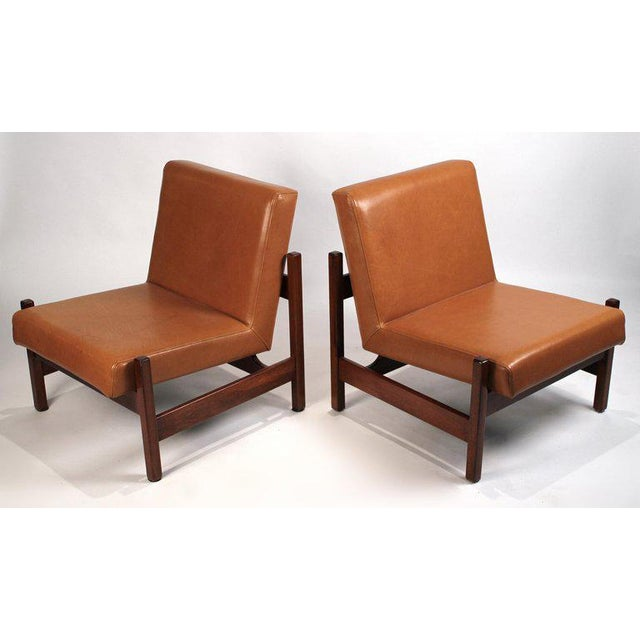 Mid-Century Modern Joaquim Tenreiro Style Peroba Lounge Chairs in Leather for Knoll & Forma Brazil - A Pair For Sale - Image 3 of 10