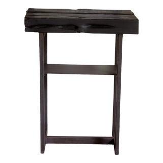 Artisan Organic Modern Shou-Sugi-Ban Black Entry Console Table For Sale