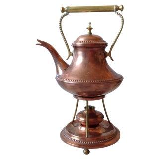 Oscar Nilsson Copper & Brass Tea Kettle For Sale