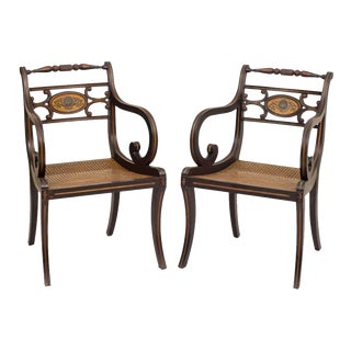Englaish Early 20th Century Regency Style Fancy Painted Armchairs - a Pair For Sale