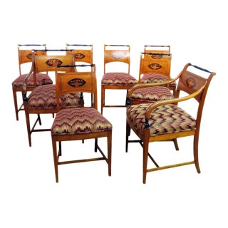 Set of 8 Biedermeier Style Dining Chairs For Sale