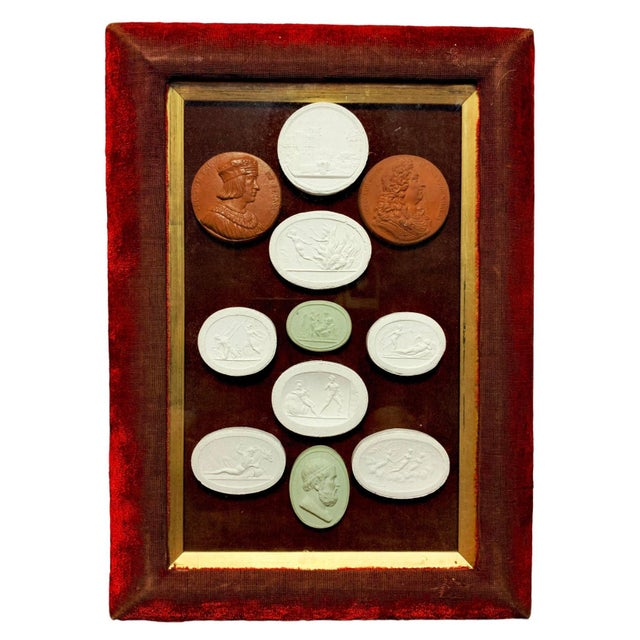 Early 19th Century Arrangement of Grand Tour Plaster Cameos in Velvet Frame For Sale - Image 10 of 10