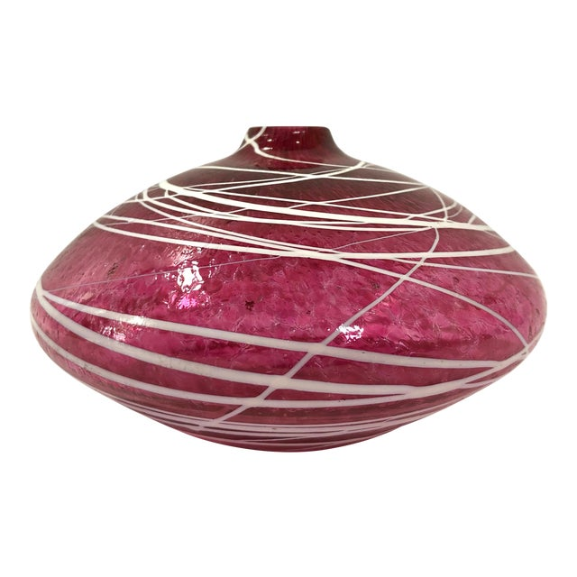 Mid Century Modern Short Stem Flower Bud Art Glass Bud Vase For Sale