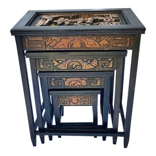 Antique Hand Carved Asian Nesting Tables - Set of 4