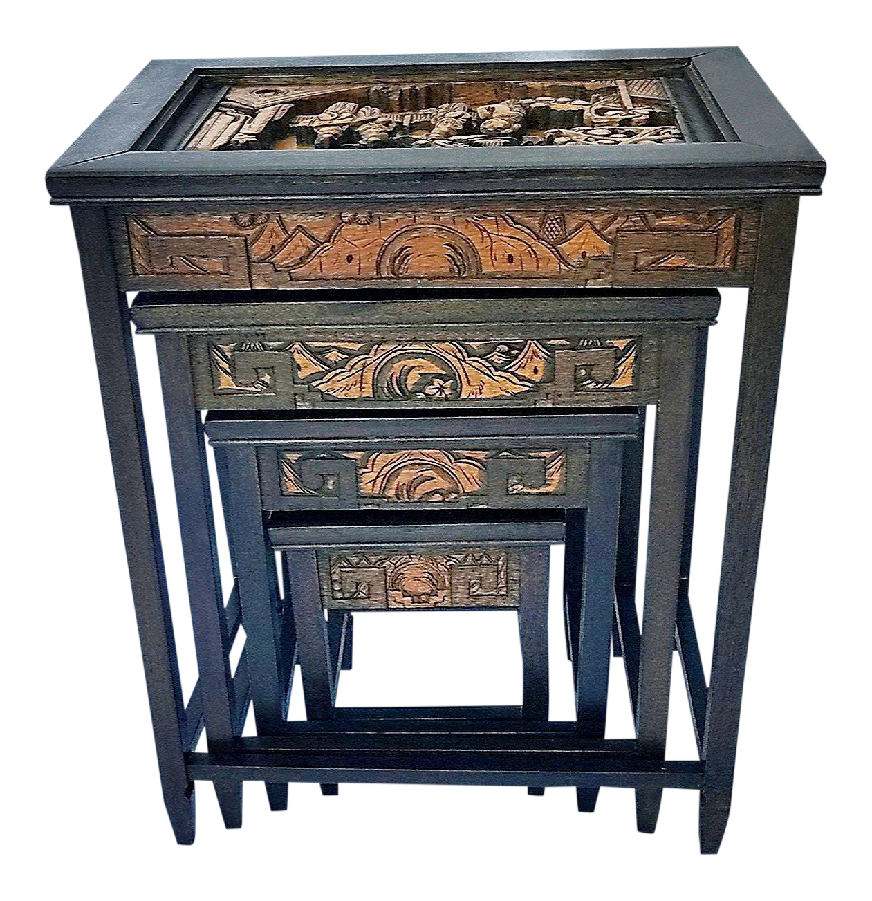 Antique Hand Carved Asian Nesting Tables   Set Of 4