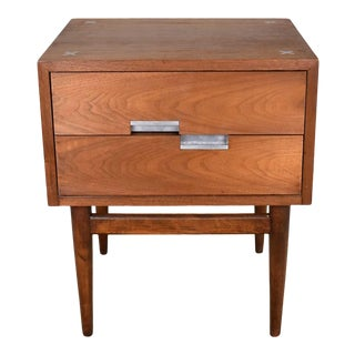 American of Martinsville Accord Walnut Nightstand or End Table W/ X's & Asymmetric Handles For Sale