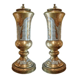 Pair of Neoclassical Reverse Painted Lamps For Sale
