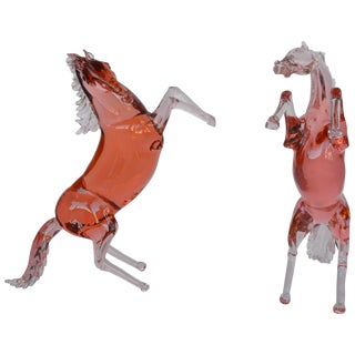 Set of Two Murano Glass Horses by Pino Signoretto For Sale