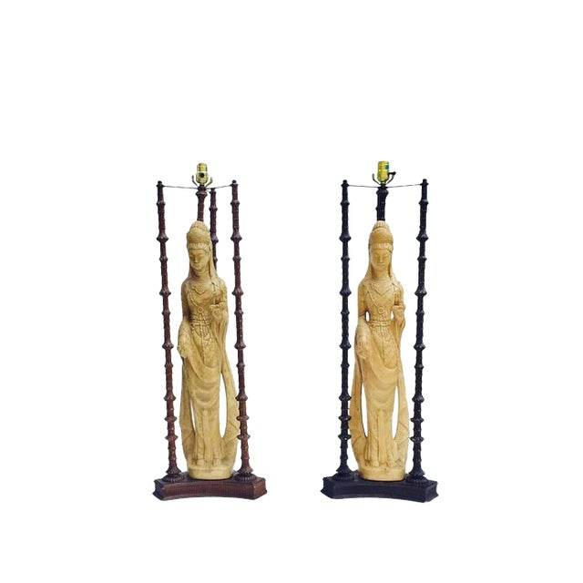 "Iconic Mid Century Chinoiserie Lamps Guan Yin Goddess Lamp Tony Duquette Style 38"" - A PAIR For Sale"