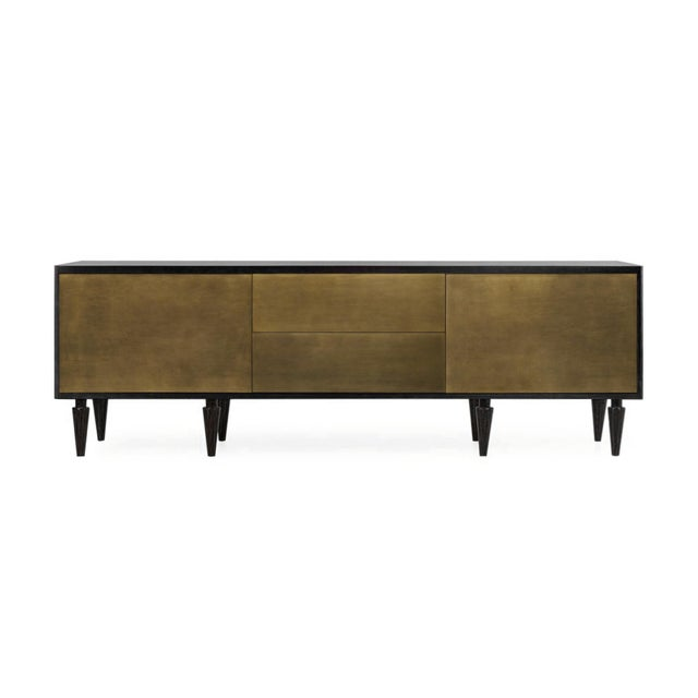 Solid Brass and Ebonized Walnut Credenza For Sale - Image 4 of 4