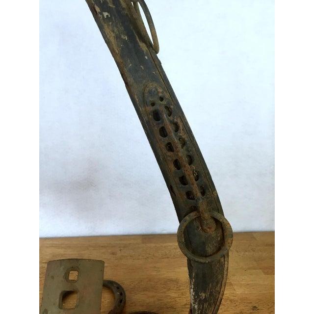 Metal Folk Art Horseshoe Boot Scraper For Sale - Image 7 of 11