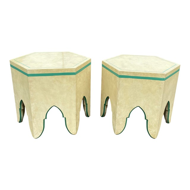 1960s Vintage Moroccan Hexagon Lacquered Side Tables - a Pair For Sale