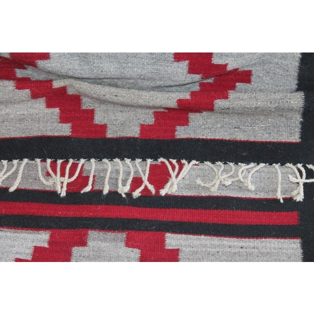 Fabric Unusual Navajo Indian Weaving Runner Rug For Sale - Image 7 of 9
