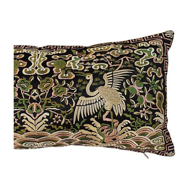 Gold Metallic Silk Crane Boudoir Pillow - Image 4 of 6