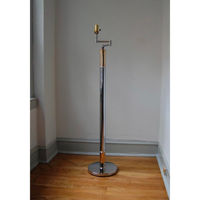 1970s Chrome and Brass Column Floor Lamp For Sale - Image 11 of 11