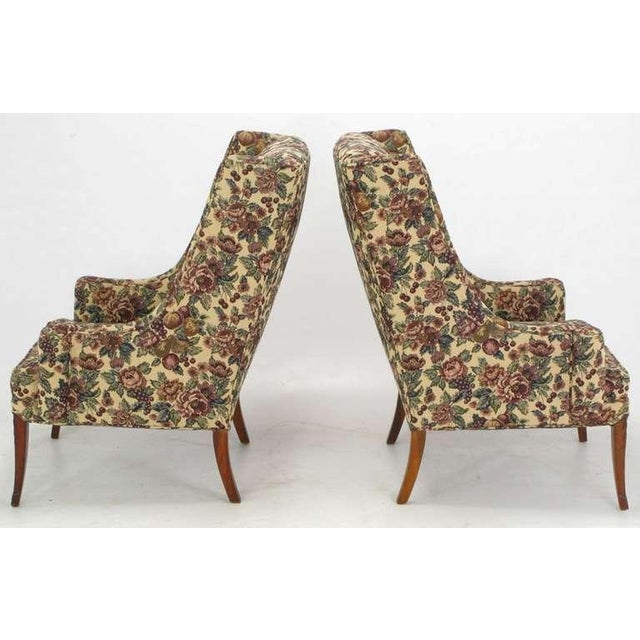 Pair Low-Arm Wing Chairs In Grosfeld House Manner - Image 4 of 9