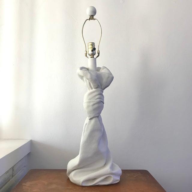 Mid-Century Modern Vintage Mid-Century John Dickinson Plaster Draped Lamp For Sale - Image 3 of 12