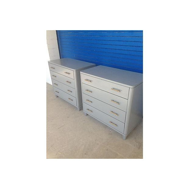 Gray Mid-Century Bachelor Chests - A Pair - Image 3 of 7