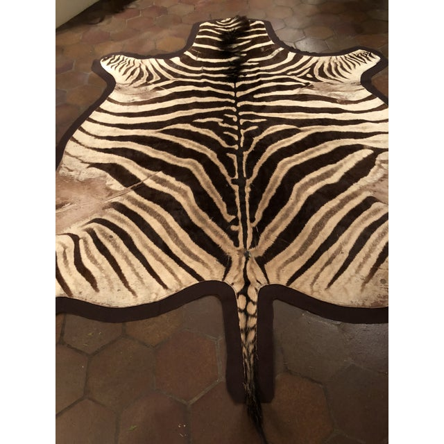 Black 1960s Vintage Burchell Zebra Rug For Sale - Image 8 of 12
