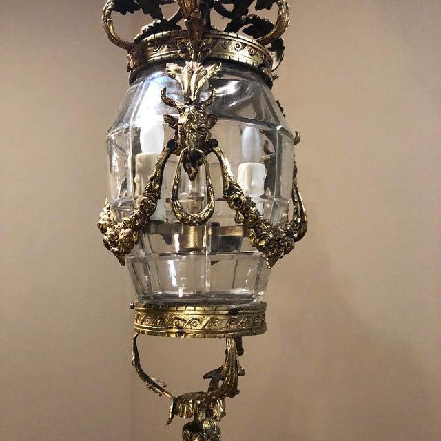 Antique Bronze & Crystal Lantern Chandelier For Sale - Image 9 of 12