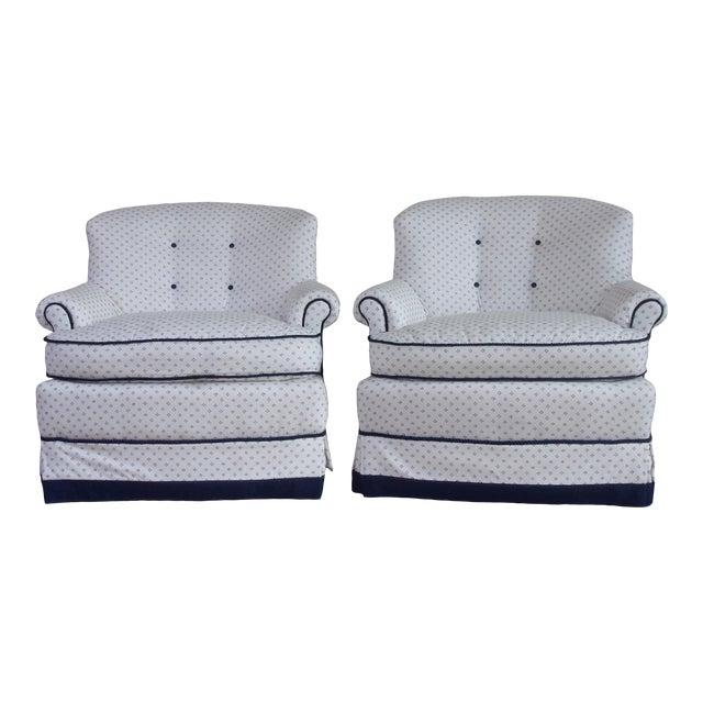 Custom Swivel Chairs, White & Navy, Pair For Sale