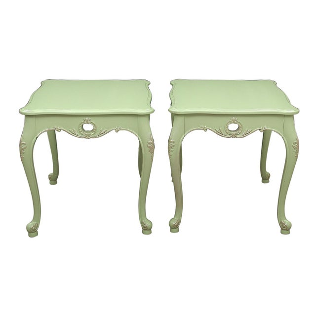 Lacquer 1970s Queen Anne Apple Green Side Tables - a Pair For Sale - Image 7 of 7