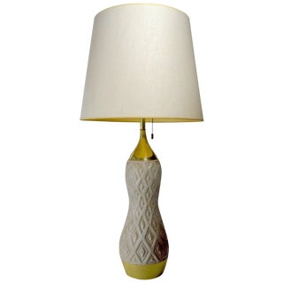 Gerald Thurston for Lightolier Ceramic and Brass Table Lamp For Sale