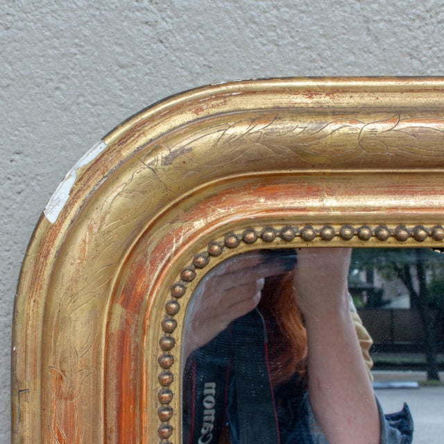 Late 19th Century Antique French Gilt Louis Philippe Mirror With Floral Details For Sale - Image 5 of 13