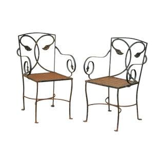Salterini Vintage Pair of Wrought Iron Patio Garden Armchairs For Sale