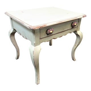 Habersham Country French Paint Distressed Side Table For Sale