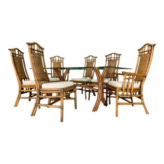 Bamboo Pagoda Dining Set by McGuire For Sale