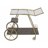 Image of Italian Modern Brass Faux Bamboo Bar Cart For Sale