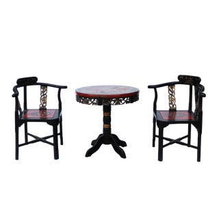 Chinese Handmade Lacquer Dragon Graphic Corner Armchair Table 3 Pieces Set For Sale