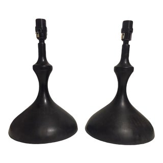 Ebonized Wood Modern Silhouette Lamps - a Pair For Sale