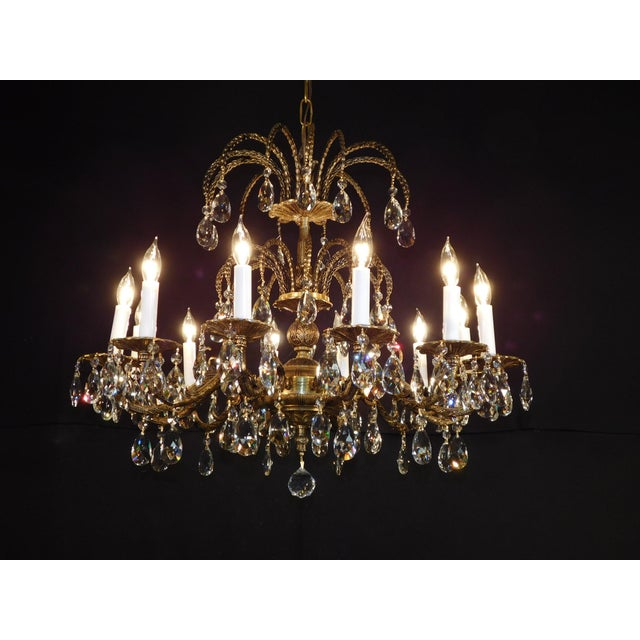 Antique French Brass Cut Lead Crystal Chandelier For Sale - Image 4 of 13