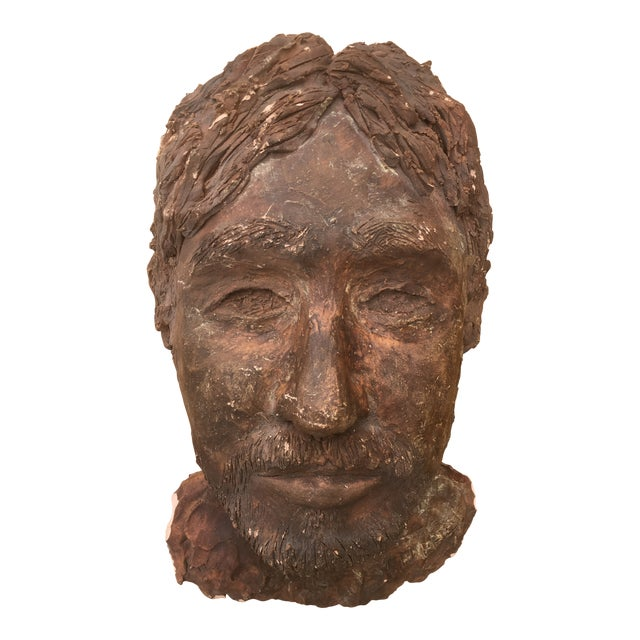 1980's Clay Sculpture of a Man's Face For Sale