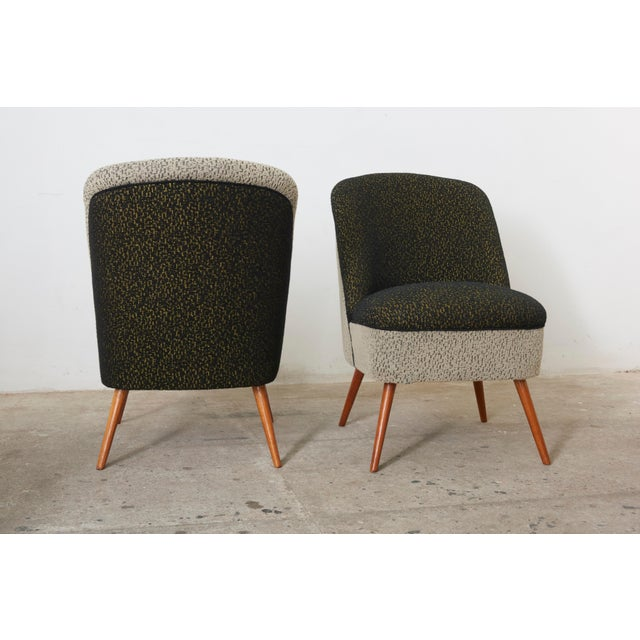 Black and White Coctail Club Chairs ,1950s For Sale - Image 4 of 8