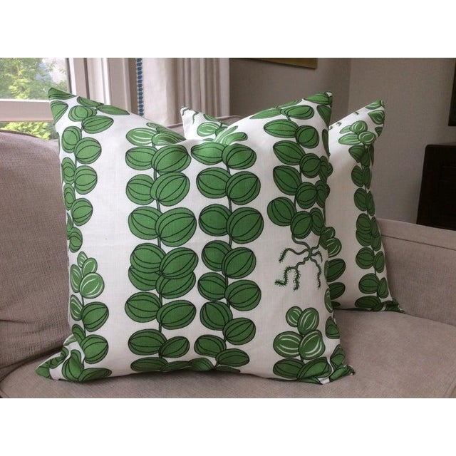 Not Yet Made - Made To Order Contemporary Svenskt Tenn for Josef Frank Emerald Green Celotocaulis Pillows - a Pair For Sale - Image 5 of 6