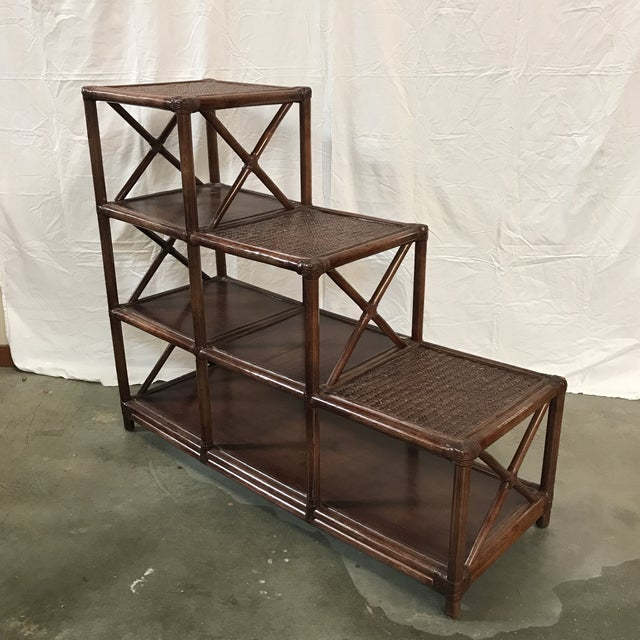 Asian Rattan Stairstep Shelf For Sale - Image 3 of 6