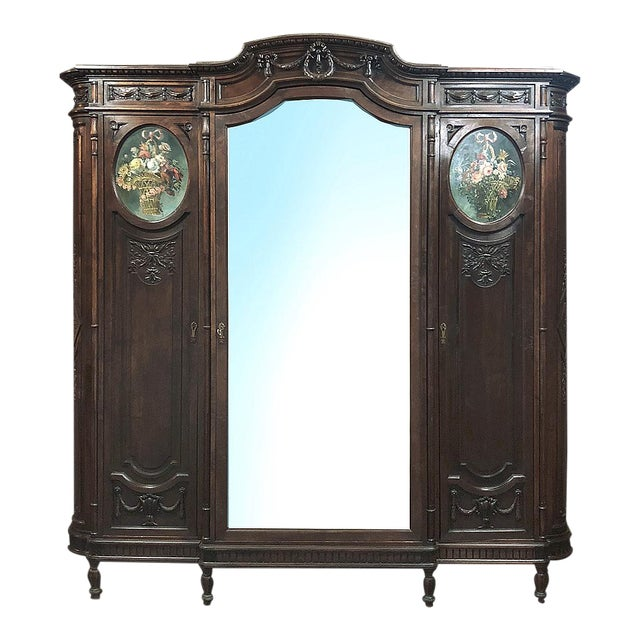 19th Century Italian Walnut Louis XVI Triple Armoire For Sale