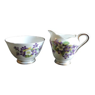 Vintage Royal Tuscan Bone China Woodland Violet Open Sugar Bowl & Creamer Set- 2 Pieces For Sale