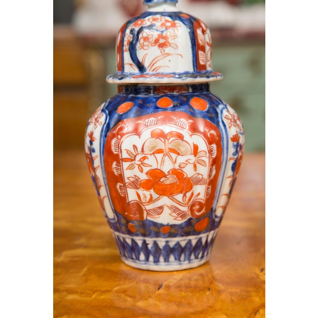 Mid 19th Century 19th Century Diminutive Imari Lidded Urns - a Pair For Sale - Image 5 of 8