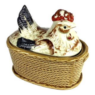 1930s Antique Chicken Covered Serving Dish For Sale