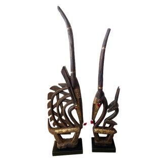 "African Chi Wara Male & Female Headdresses Masks Pair Mali 45""h & 39"" H Mali For Sale"