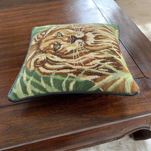 Vintage Mid Century Lion Needlepoint Pillow For Sale In Miami - Image 6 of 8