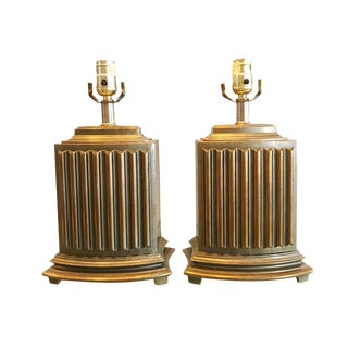 Antique Bronze Finish Brass Plated Metal Dressing Table Lamps - a Pair For Sale