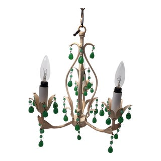 Italian Jadeite Glass Beads & Tole Chandelier