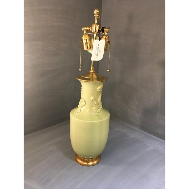 Christopher Spitzmiller Ming Dragon Motif Celadon Lamp - Image 7 of 10