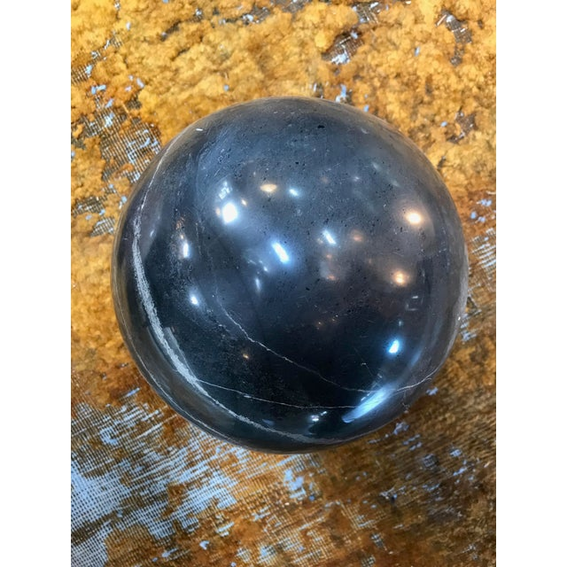 Contemporary Decorative Dark Grey Marble Sphere, Italy For Sale - Image 3 of 5
